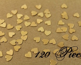 120 pc. Tiny Raw Brass Heart: 7mm by 7mm - made in USA - RB-002-3