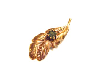Leaf or Feather mid Century Brooch Set With Jade Stone