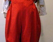 Girls Pantaloon in Red Twill with Bear and Heart Blouse - Size 6 months and 24 months