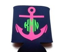 Custom Anchor Monogram KOOZIE® OR Can Cooler , Personalized Anchor Monogram Coolers, Nautical Anchor KOOZIE®, Personalized Can Coolers