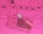 Thread drawing Home sweet home PINK serie kitchenscape