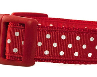 """Polka Dot Dog Collar 3/4"""" Red & White Polka Dots Red Dog Collar"""