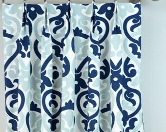 navy blue light snowy white alex damask floral curtains pinch pleat 84 96 108