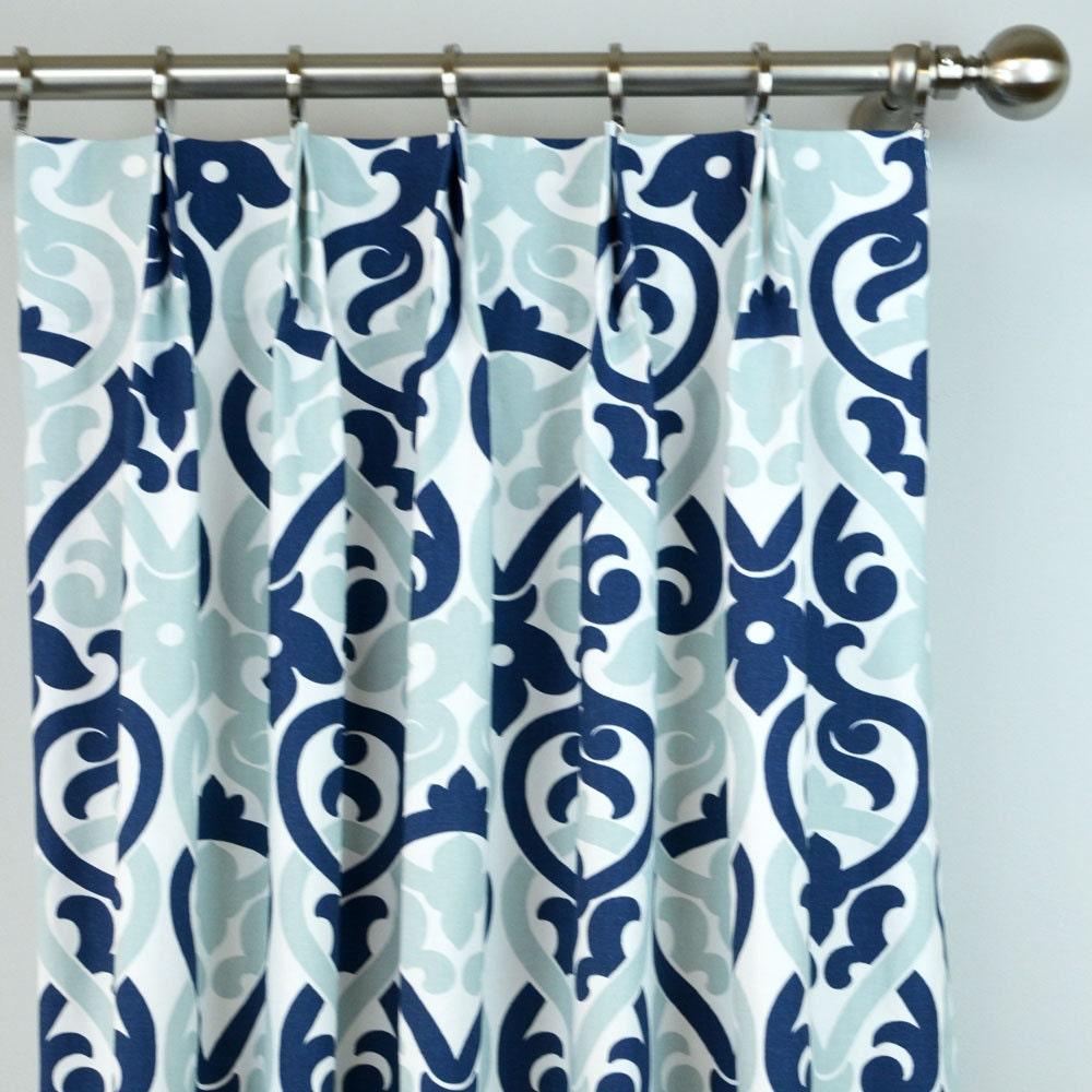 navy blue light snowy white alex damask floral curtains. Black Bedroom Furniture Sets. Home Design Ideas