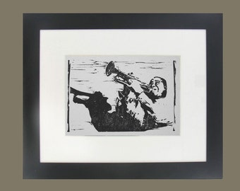 Louis Armstrong hand-carved linocut print jazz trumpet