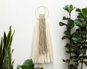 Overlapping Natural Fiber and Brass Art Wall Hanging