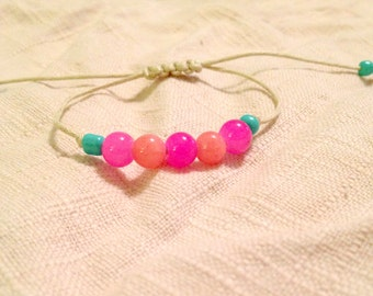Beachy Chic Adjustable Beaded Bracelet- Pink and Teal
