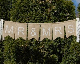 Mr and Mrs Rustic Burlap Banner- Photo Prop- Head Table