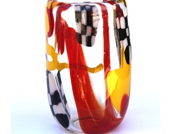 Blown Glass Racing Checkered Flag Cup Yellow Red Racing Stripes Thick Heavy Glass Car Race Decor