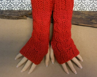 Knitted Fingerless Gloves, Red Wrist Warmers, Cabled Arm Warmers, Womens Chunky Knitted Gloves, 48 Colours 2 Sizes