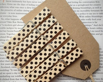 6 full size wooden clothes pegs, black spotty, decorative clothes pegs