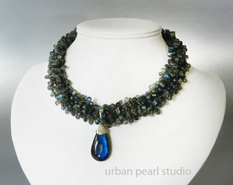 Labradorite Necklace in a Multi Strand Gemstone Statement Necklace Big Labradorite Pendant, Multistrand Twisted Necklace