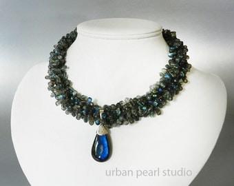 Labradorite Multi Strand Gemstone Choker Necklace with Big Labradorite Pendant Multistrand Twisted Necklace