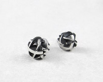 Oxidized sterling silver stud earrings, black silver ball studs, 3D printing - Negative/Positive collection