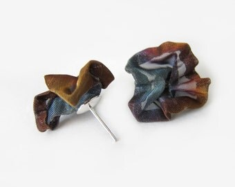 Multi-coloured stainless steel mesh and sterling silver stud earrings, flower blossom studs