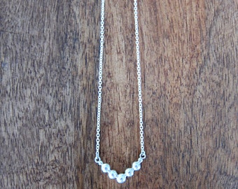 Silver chevron necklace, V shaped necklace made from recycled silver granules