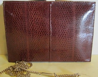 Vintage lizard skin leather clutch, evening bag, a real beauty, vg
