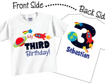 Third Birthday Shirts for Boys with Space and Rocket Ship Tees