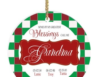 Personalized Christmas Ornaments Grandma My Blessings Ornament