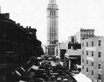 BOSTON, MA Commercial Street, Customs House Tower circa 1922 - Vintage Photo Print, Ready to Frame!