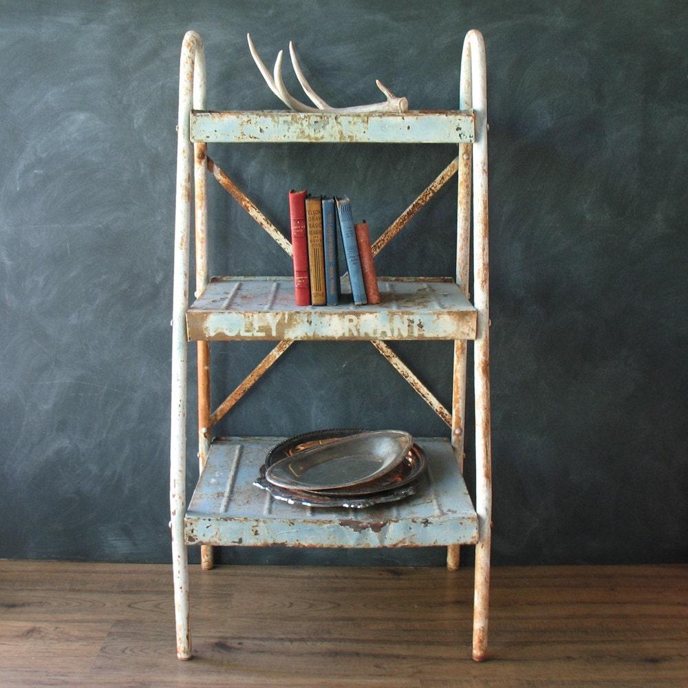 antique metal shelving unit industrial storage haute juice. Black Bedroom Furniture Sets. Home Design Ideas