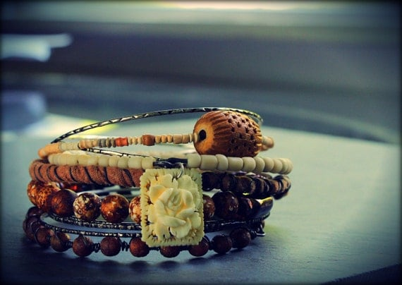 Desert Rose - Sahara Sting inspired tribal gypsy bangles stack bracelets antique findings, carved rose, indonesian glass, salvaged cloth