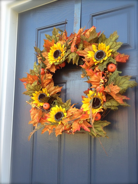 On Sale Sunflower Wreaths Sunflower Door Decor Fall Wreaths
