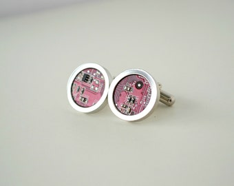 Dark red Circuit Board Cufflinks, Geekery cufflinks, Gift for men, Men Accessories, resin, Cuff links, Men's jewelry, Electronic