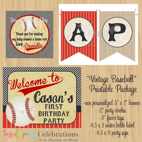 DIY Printable Mini Party Package Vintage Baseball Collection