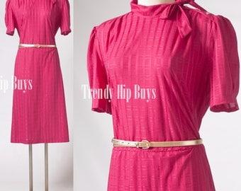 VIntage 80s Dress, Fuchsia Pink Dress, 80s Secretary Dress - XL/1XL