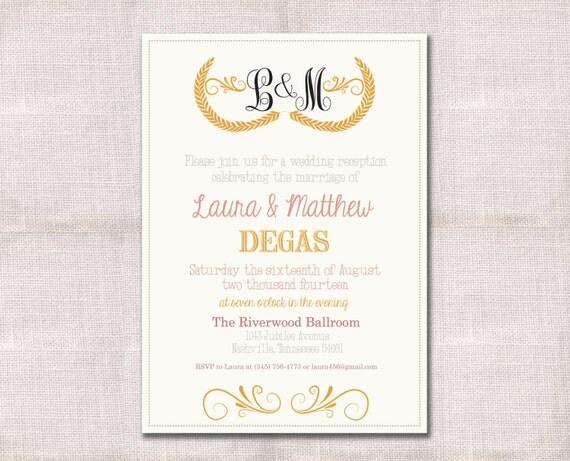 Items Similar To Monogram Wedding Reception Celebration After Party Invitation Custom