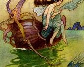 Sea SPRITE Fairy!  Fairy Tale Digital VINTAGE Illustration. Fairy Tale Digital Download. Vintage Mermaid Digital Print. Warwick Goble.