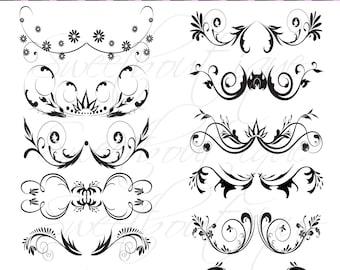 BLACK Digital Frame Ornate Clip Art Flourish Swirl Frame Border Clipart Scrapbook Embellishment Frame Border Decor Element  0471