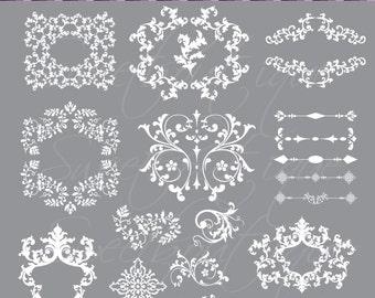 Flourish Frames Clipart Digital Borders Text Dividers Clip Art Decorative Elements DIY Wedding Designs WHITE 0353