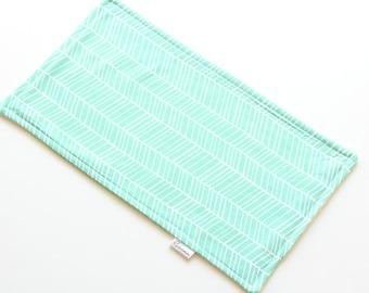 SALE || Burp Cloth || Herringbone Green || Fleece Backing