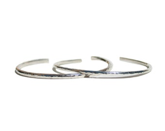 Sterling Silver Thick and Thin Hammered Bracelets, Open Bangle Set