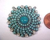 Vintage Turquoise Crystal Rhinestone Deco Swirl 36mm. Bead Pendant E163