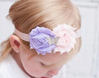 Butterfly Headband Shabby chic Headband Baby headband rhinestone newborn headband flower headband baby girl headband