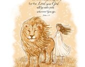 Children's Wall Art - The Girl Who is Strong and Courageous- Wall Art for Girls - Customizable Hair Color and Text Option