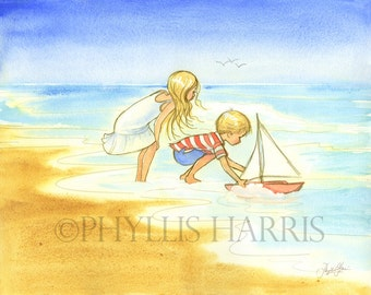 Wall art - Golden day by the sea - Little girl and boy with toy sail boat