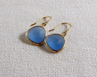 Ice Blue Glass Earrings, Modern Gold Dainty Bridal Earrings