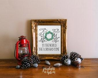 Christmas printable art, wall decoration decor poster, christmas carol typography, joy to the world, digital print INSTANT DOWNLOAD