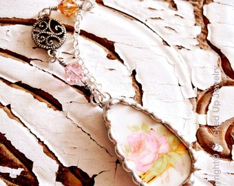 Broken China Jewelry. Broken China Necklace, Pink Rose Necklace