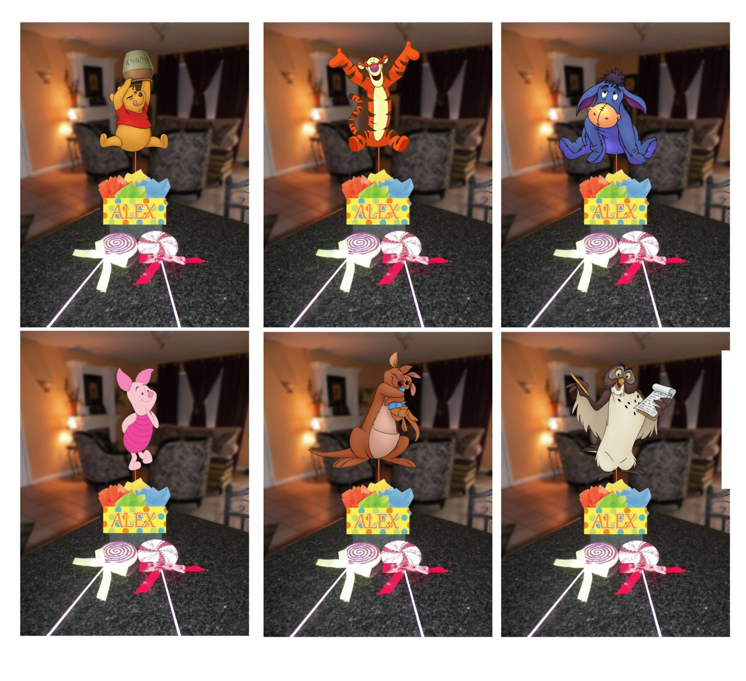 Diy small 12 winnie the pooh birthday party centerpieces for Do it yourself centerpieces for birthday