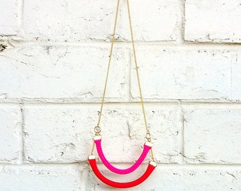 Summer Pink and Red Small Rope Necklace