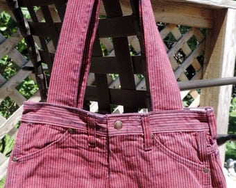 Large Lined Red & Blue Pin Stripe Purse / Handbag / Tote Bag, Handmade from Upcycled/ Recycled Pants, Inside Completely Lined w/ Pockets
