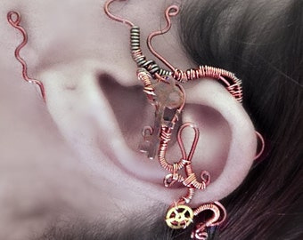 Copper and Cogs Steampunk Wire Ear Wrap - Left Ear