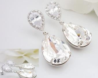 Wedding Jewelry Bridesmaid Gift Bridal Jewelry Bridesmaid Jewelry Clear White Swarovski Crystal Tear Drop Earrings Cubic Zirconia Earrings