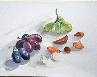 Watercolor painting original. Still life with grapes. Art painting. NAture illustration. Realism still life. Kitchen decor. Home decor