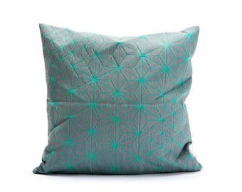 """Turquoise & grey designer throw pillow cover 15.7x15.7"""". Japanese inspired decorative design. Removable printed pillow cover, Tamara pillow"""
